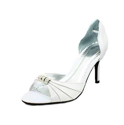 Señoras raso abierto peep toe zapatos de tacón con detalle de strass plata
