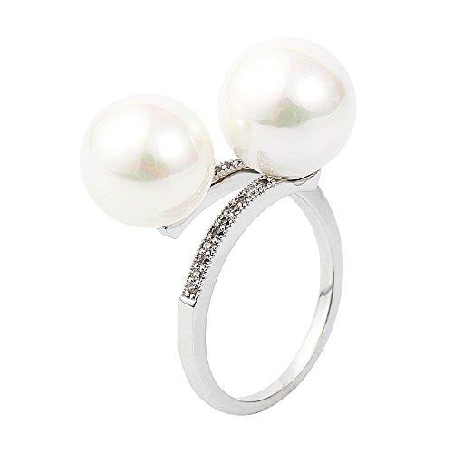 Citled Pearl Double White Sterling Platinum Ring Diamond For Women ...