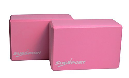"Set of 2 SUESPORT Yoga Blocks, Large Size 9"" x 6"" x 4"" , Available in 4 Colors, High Density Quality Foam"