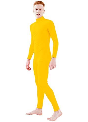 Ensnovo Adult Lycra Spandex Turtleneck Long Sleeve One Piece Unitard Bodysuit Dancewear Yellow, L]()