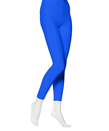 EMEM Apparel Women's Ladies Solid Colored Seamless Opaque Dance Ballet Costume Full Length Microfiber Footless Tights Leggings Stockings Royal Blue B