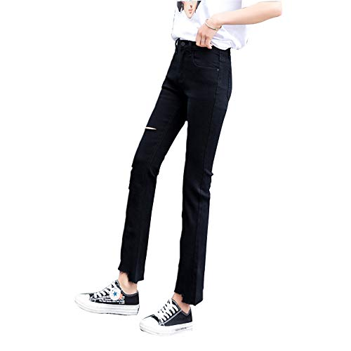 ZLL8 Jeans Sand Sweet Slim Stretch high Waist Trousers Girls(Black/1,Large)
