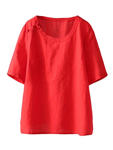 Mordenmiss Women's Cotton Linen Tops Short Sleeve Retro Chinese Frog Button Blouse Casual Loose T Shirt Red 2XL