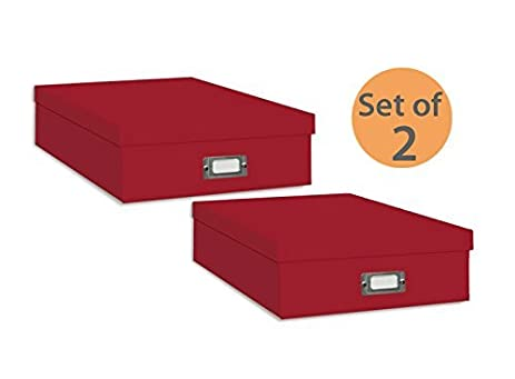 Amazon Pioneer Jumbo Scrapbook Storage Box Red Set Of 2