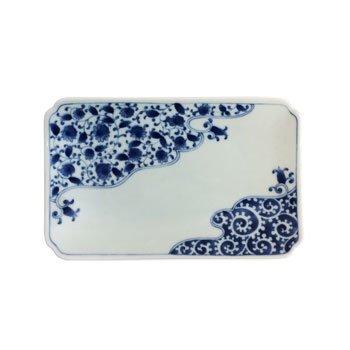 Porcelain Rectangular Plate - Unryu Karakusa