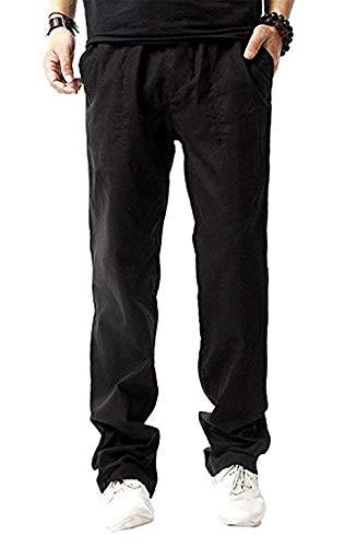 Da Ampi Bassa Cotone Pantaloni Completo In Uomo Casual Targogo Elasticizzato A Lino Blau Vita FnqpAIC4