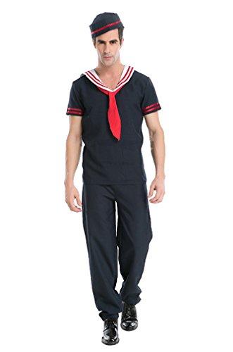 Retro Navy Sailor Adult Mens Costumes (Honeystore Men's Adult Retro Sailor Costume Role Playing Cosplay L)