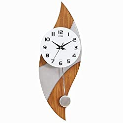 MGE UPS Systems Clock Wall Clock,Pocket Watch Oak Wood Wall Clock with Silver Wood Wall Clock 12 Inch Mute Clock