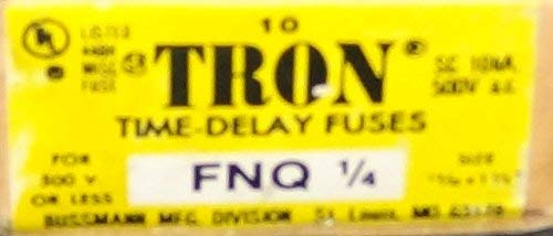 [10-PACK] Bussmann TRON FNQ-1/4 TIME DELAY FUSE 1/4AMP 500V (Tron Fuse Time Delay)