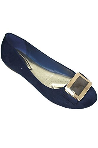 Suede Faux Smart Madalyn SAPPHIRE Blue II FLH883 BOUTIQUE Fashion Pump Accent Buckle Flat Shoes RwF1qTAF