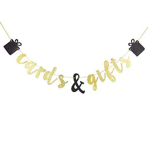Cards and Gifts Banner, Gold Glitter Letters Hang Bunting, Wedding Decorations, Engagement, Bachelorette Party, Bridal Shower, Birthday Party Supplies Photo Prop