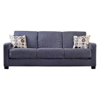 Handy Living Tahoe Convert A Couch In Gray Microfiber With Black Geometric  Circle Pillows