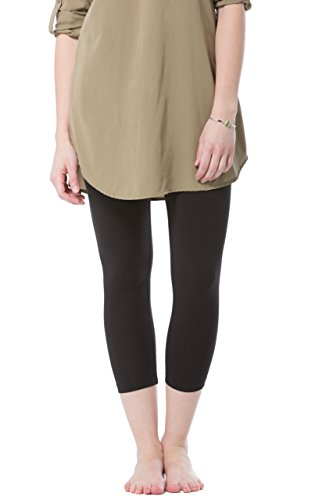 Fishers Finery Ecofabric Capri Legging; Casual Lounge Legging (Black, M) ()