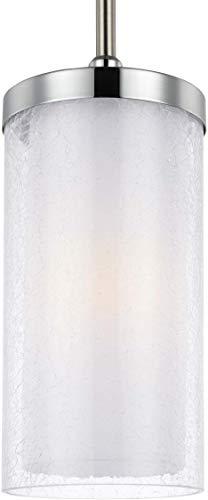 "Feiss P1334SN/CH Jonah Glass Pendant Lighting, Satin Nickel, 1-Light (6""Dia x 9""H) 75watts"