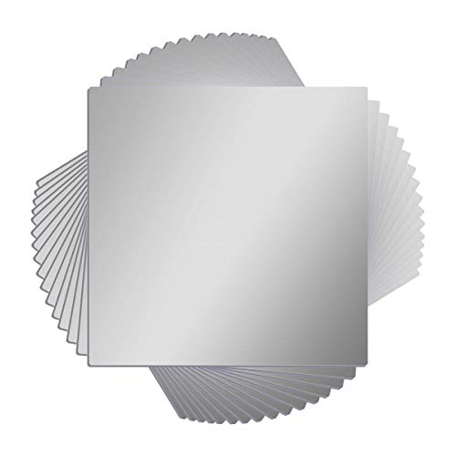 16 Pcs Flexible Non Glass Acrylic Mirror Sheet Tiles Self Adhesive Plastic -