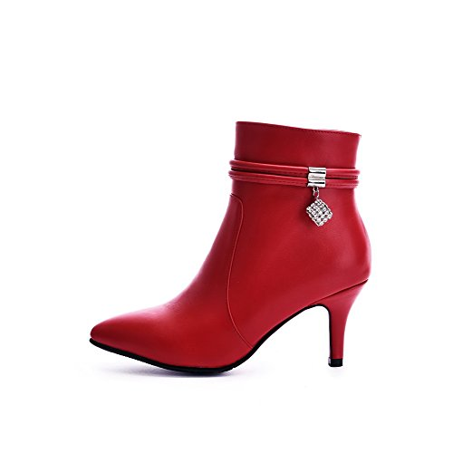Toe top Material Pointed Women's Low Zipper Soft Boots AmoonyFashion Heels Red Closed High YRvSw