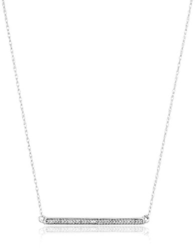 10K White Gold Diamond Accent Bar Pendant Necklace, 18″