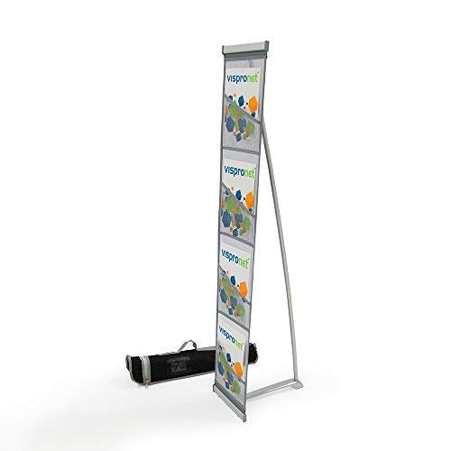 - Mesh Magazine Stand - Sturdy Roll Out Brochure Holder 4 Pockets - Portable Literature Display
