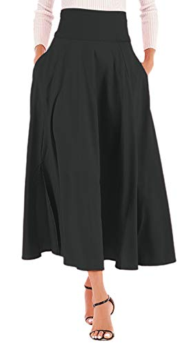 Calvin&Sally Women High Waist Front Slit Belted Casual A-Line Pleated Midi Skirt Dresses (Black ()