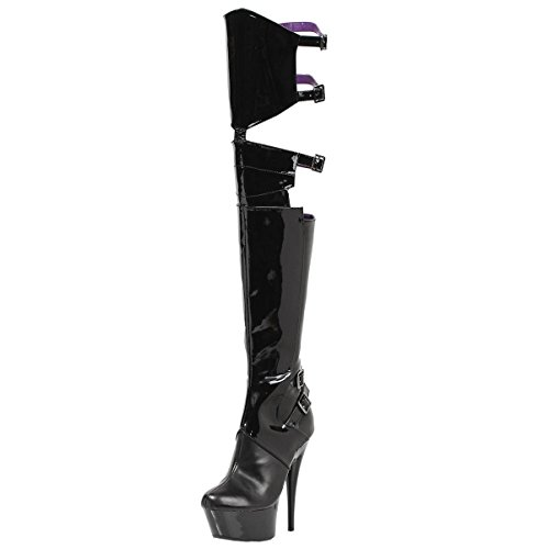 Summitfashions Glossy Black Thigh High Boots with Side Buckles and 6 Inch Stiletto Heels Size: ()