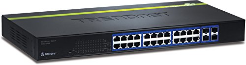 TRENDnet 24-Port 10/100/1000 Mbps Gigabit Web Smart Switch with 4 Shared SFP Slots, Private & Voice VLAN Support, IPv6, Fanless, Rack Mountable, (1000 Rackmount Kit)