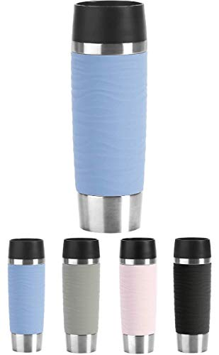 Emsa N20121 Travel Mug Wave-Design - Termo (500 ml, mantiene caliente hasta 6 horas y 12 horas frias, 100% hermetico, cierre Easy Quick-Press, apertura de 360°), color azul