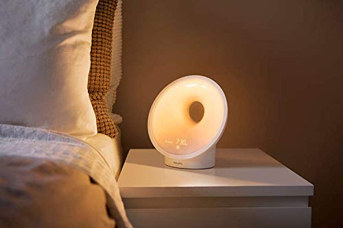 Philips SOMNEO Sleep & Wake-Up Light Therapy Lamp Sunrise Alarm and Sunset Fading Night Light, White (HF3651/60)