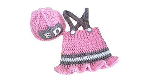Newborn Baby Girl/Boy Crochet Knit Costume Photography Prop Hats and Outfits (Little Firewoman 2)]()