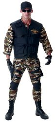 [Underwraps Men's Seal Team Adult Deluxe, Camo/Black, Tall] (Military Costumes For Teens)