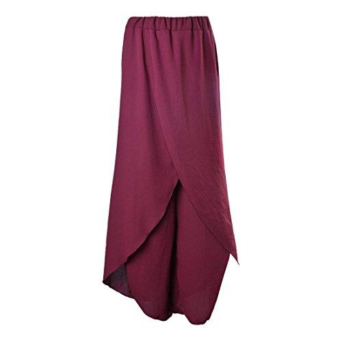 Damigella Pants Libero Baggy Rossi Donna Tempo Estivi Pantaloni Taglie High Waist Moda Forti Monocromo Irregular Eleganti Gonna Larghi Pantalone FxBwxT