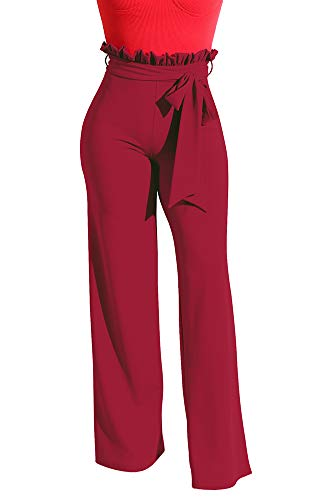 LKOUS Wide Leg High Fold Over Waist Palazzo Pants Plus Size Wine XL