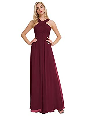 Alicepub Crisscross High-Neck Chiffon Bridesmaid Dress Long Formal Dresses Prom Evening Gown, Burgundy, US12