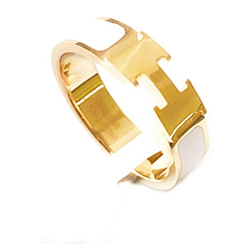 Qindishijia Women's Fashion Enamel Rings Stainless Steel Letter Lovers Ring (Gold/White, 5)