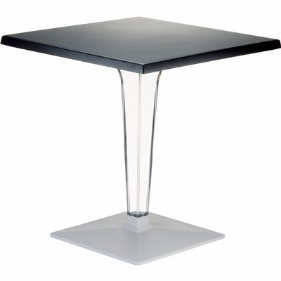 Compamia Ice Werzalit Top Square Dining Table with Transparent Base 28 inch Black