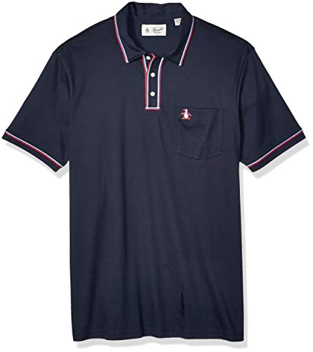 Original Penguin Men's Big Earl Polo, Dark Sapphire/Red/White, 1-XL Extra Large/Tall