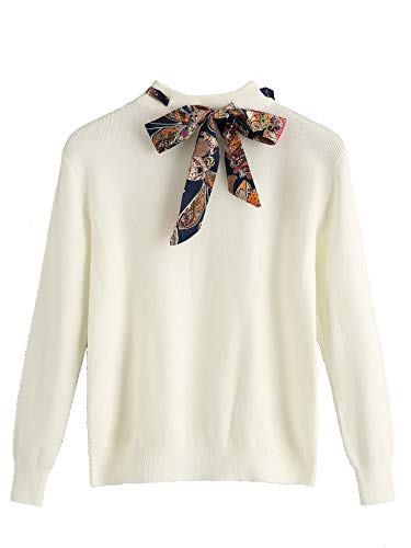 (Milumia Women Fall Winter Tie Knot Crew Neck Sweater Jumpers)