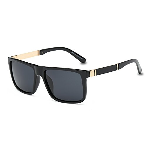 DONNA Trendy Oversized Square Aviator Polarized Sunglasses Style with Big Unbreakable Frame and Anti-glare Lens D54-A15