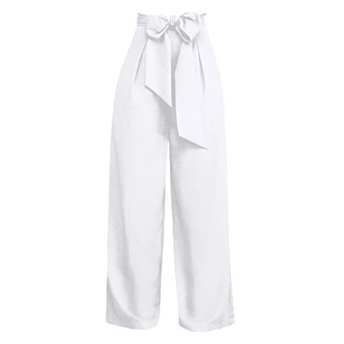 ONLY TOP Women's Pants Trouser Slim Casual Cropped Paper Bag Waist Pants with Pockets White