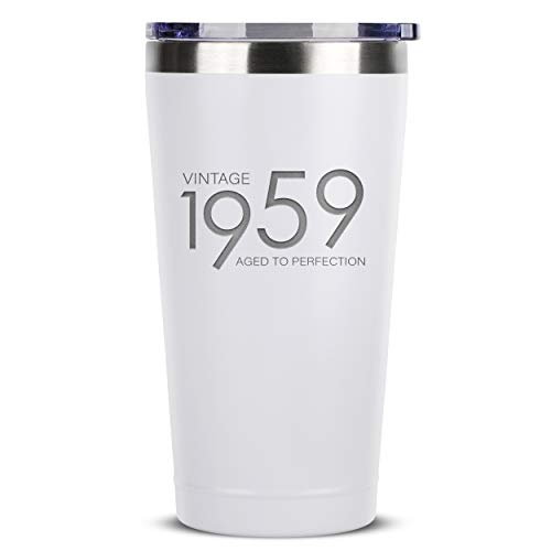 1959 60th Birthday Gifts for Women Men | 16 oz White Insulated Stainless Steel Tumbler w/Lid | Vintage 60 Year Old Best Gift Present Ideas for Mom Dad | Tumblers Party Decorations Supplies Presents