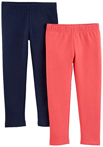 Simple Joys by Carter's Girls' Toddler 2-Pack Fleece Leggings, Pink/Navy, 2T