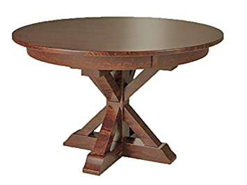 X Base Single Pedestal 4 Foot Round Dining Table Solid Top Only