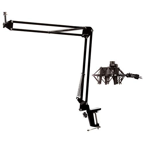 Knox Microphone Suspension Boom Scissor Arm w Yeti Mic Shock Mount - Black from Knox