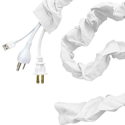 Cordinate Fabric Cord Cover, 6 ft, Hides Cables, Great for Lamps, Light Fixtures, and Desks, Cable Management, Easy Installation, Eggshell White, 40723 ()