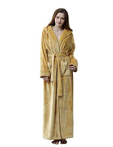 Womens Long Hooded Bathrobe Fleece Full Length Bathrobe with Hood Winter Sleepwear, Yellow-M