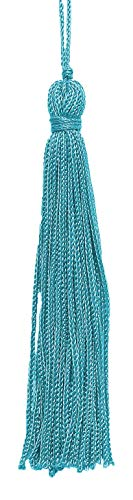 Set of 10 Turquoise Chainette Tassel, 4 Inch Long with 1 Inch Loop, Basic Trim Collection Style# RT04 Color:Turquoise - 04