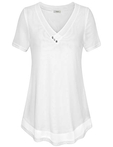Timeson Womens Tops Work Casual, Womens Short Sleeve Mesh Blouse Button V Neck Fashion Stretchy Soft Tunics Flowy Long Blouse Tops for Summer Office Business Work White - White Sleeve Cap Blouse