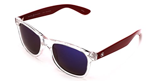 Samba Shades Polarized Wayfarer Sunglasses with Clear Frame and Red Arms, Mirrored Lens for Men and - Baseball White And Sunglasses Red