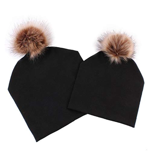 2 pack winter warm hats parent child