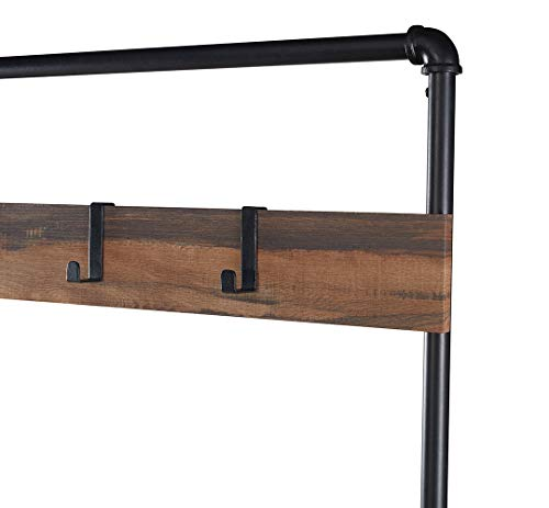 Homissue Industrial Pipe Hall Tree with Storage Bench, 2 Shelf Shoe Rack with 3 Hooks for Entryway and Hallway, Shoe Bench with Cushion, Retro Brown - Industrial Pipe Design: constructed with metal pipe frame and MDF board, add this sturdy hall tree to the entryway or hallway to complement a farmhouse aesthetic. It features padded upholstery for the seat that provides you with more comfort, a row of three hooks give you space to hang up coats, hats or other out-the-door essentials. The open shelf at the bottom that has ample space to hold several pairs of shoes, other footwear or any necessary things. A elegant addition to your entry, mudroom, office or apartment. - hall-trees, entryway-furniture-decor, entryway-laundry-room - 31X4wcvbWOL -
