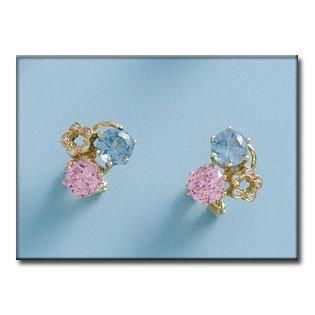 c48f5447c850 Lior-Pendientes - Oro 18k (750) Circonita y piedras Rosa de Francia y Agua  Marina - Cierre Omega -12mm  Amazon.es  Joyería